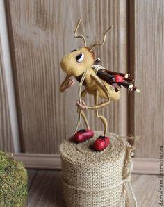 """Купить Миниатюра """" Работяга Муравей-2 """" - коричневый, муравей, муравей из шерсти"""