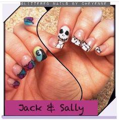 Nightmare Before Christmas nails #jackandsally #halloweennails #glitterednailsbycheyenne
