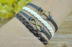 Anchor Bracelet Infinity Wish Bracelet Wax Rope by HandmadeTribe, $3.50 Beautiful handmade leather bracelet