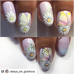 All of these nail designs and styles are as easy as they are lovely. For anybody who is constantly looking for options and brand new designs, nail art designs are a good way to display your individuality as well as to be original. Butterfly Nail Designs, Butterfly Nail Art, Nail Designs Spring, Cute Nail Designs, Rose Nails, Flower Nails, New Nail Art, Cool Nail Art, Nail Art Fleur