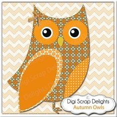 50% OFF TODAY Autumn Owl Clip Art Owls by DigiScrapDelights  #scrapbooking #clipart