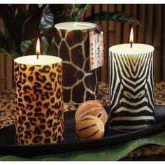 ~ Safari Wild Animal Prints: Cheetah, giraffe and zebra pillar candles add a wow factor to your home.  Site en francais! ~