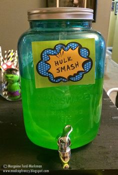 Frenzy's A Heroes and Villains themed New Years Eve party for adults- Hulk Smash juice (adult drink) Adult Superhero Party, Superhero Halloween, Superhero Birthday Party, Halloween Alley, Superhero Party Favors, Halloween Snacks, Hulk Birthday Parties, Birthday Themes For Adults, 4th Birthday