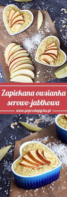 Zapiekana owsianka serowo-jabłkowa Baked cheese and apple porridge is an idea for a quick, light breakfast or dessert. Baked Cheese, Oven, Apple, Baking, Breakfast, Ethnic Recipes, Desserts, Macros, Food