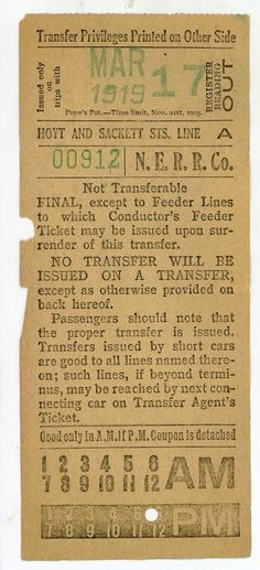 Front of streetcar transfer from Nassau Electric RR. (Brooklyn, New York) (1919)