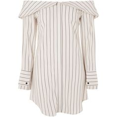 Topshop Stripe Bardot Shirt Dress ($61) ❤ liked on Polyvore featuring dresses, topshop, tops, ivory, long sleeve ivory dress, long sleeve stripe dress, white shirt dress, long white shirt dress and winter white dress