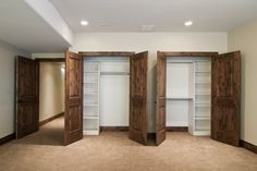 Built-in shelves in closets.