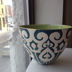 Jill Rosenwald's private label Alice bowl in teal for @twelvechairsboston