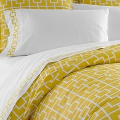 Jonathan Adler Yellow Nixon Duvet Cover in Yellow Nixon contemporary duvet covers Yellow Sofa, Yellow Bedding, Bedding Sets, Home Bedroom, Master Bedroom, Bedroom Decor, Bedroom Ideas, Bedroom Black, Bedroom Designs
