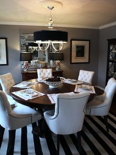 dining rooms - Behr - Fashion Gray - Z gallerie Tuxedo Chandelier Restoration Hardware Martine Chairs FLOR Side by Side Carpet Tiles gray walls Mosaic Cloisonne lamps solid walnut round dining table square glass tiles mirror