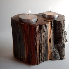 Wooden Candle Holder by CoCreativeLeigh on Etsy