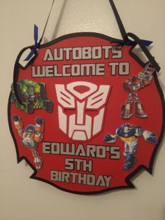 Rescue Bots Birthday Door Sign by MemoriesBlossom on Etsy- theme for next yr?