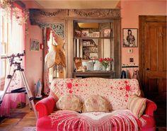 Pink Bohemian living room decor...