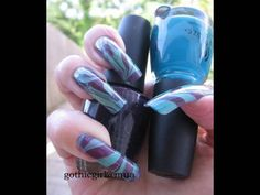 Water Marble Technique Tutorial Step-By-Step Nail Art Using China Glaze ...