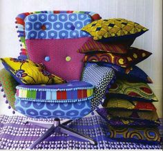 African fabric swivel chair with cushions