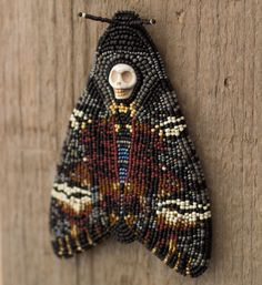 Bead Embroidered Brooch Death's-head Hawkmoth by beadedmischka