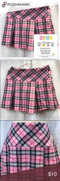 Size 16 Limited Too Pink Plaid Pleated Skirt Cute plaid, pleated skirt with attached undershorts and side zipper. Limited Too Bottoms Skirts