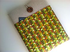 Padded iPad Case Cover with Pocket  Leaf Stripe by bertiescloset, $29.99