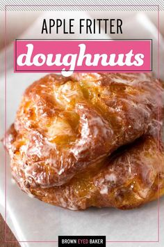 Fried doughnuts filled with apples, cinnamon, and apple cider and covered in a delicious glaze. Delicious and completely from scratch! Waffle Recipes, Donut Recipes, Pastry Recipes, Brunch Recipes, Appetizer Recipes, Breakfast Recipes, Snack Recipes, Apple Fritters, Pancakes And Waffles