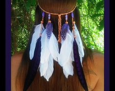Bird of Paradise Feather headband native by dieselboutique on Etsy