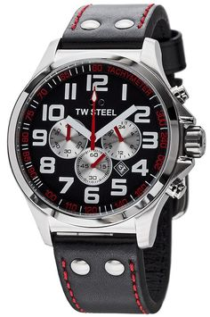 TW Steel Watch TW414 Pilot Black Dial Stainless Steel Chronograph 45mm