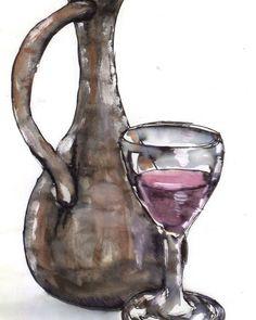 Wine and jug ca 1992. #painting #paintings #watercolor #penandink #wine