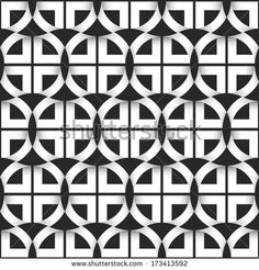 Geometric seamless pattern of black and white circles. Vector illustration  - stock vector