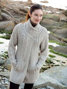 Aran Crafts Ladies Womens Wool Aran Cable Knit Crew Neck Sweater With Pockets Merino Wool