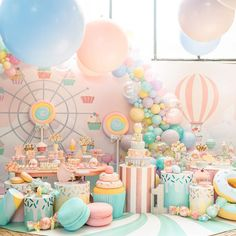 first birthday pics Candy Theme Birthday Party, Donut Birthday Parties, Carnival Birthday Parties, Candy Party, Baby Birthday, Anniversaire Candy Land, Deco Baby Shower, Birthday Party Decorations, First Birthdays