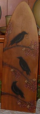 crows on ironing board Painted Ironing Board, Wood Ironing Boards, Vintage Ironing Boards, Painted Boards, Primitive Painting, Tole Painting, Painting On Wood, Arte Country, Country Crafts