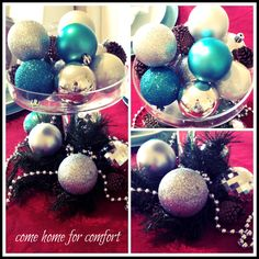 Christmas Eve Centerpiece: Red, Turquoise and Silver | Come Home For Comfort