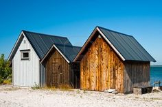 Wooden fishing huts with the Baltic Sea on the background, along the coast of Faro Island, Gotland, Sweden