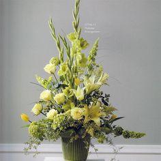 pedestal flower arrangements | Pedestal Arrangement 2 Traditional Lillie's tulips and roses