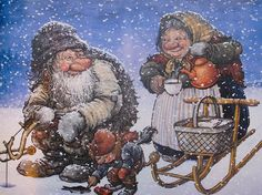 From the book TROLL, The original book of Norwegian Trolls by Jan Loof. Father Troll has had enough, he wraps himself up in a blanket, go. Los Trolls, Illustration Noel, Creation Photo, Elves And Fairies, Scandinavian Art, Christmas Gnome, Illustrators, Fantasy Art, Fairy Tales