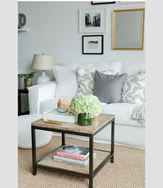 White and grey. Simple. Textured rug.