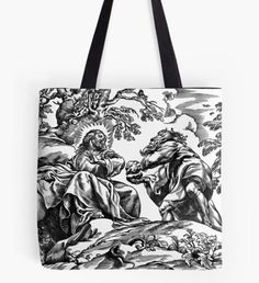 """""""Flowers"""" Tote Bag by Large Bags, Small Bags, Cotton Tote Bags, Reusable Tote Bags, Medium Bags, Poplin Fabric, Shopping Bag, Horses, Flowers"""