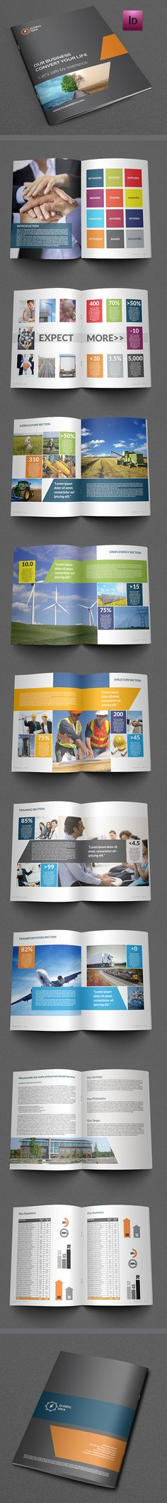 Buy Corporate Brochure Template - 20 Pages by OWPictures on GraphicRiver. Brochure Description : Corporate Business Brochure Template – 20 Pages that is super simple to edit and custom. Corporate Brochure Design, Company Brochure, Brochure Layout, Business Brochure, Brochure Template, Branding Design, Brochure Ideas, Cv Design, Indesign Templates