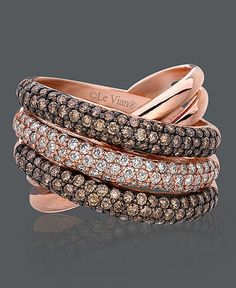 Le Vian Diamond Ring, 14k Rose Gold Chocolate Diamond and White Diamond Overlap**DROOL**