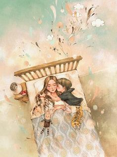 32 New Ideas For Drawing Girl Sleeping Sweet Dreams Mother Daughter Art, Mother Art, Mommy And Son, Girl Sleeping, Forest Girl, Love Illustration, Mothers Love, Anime Art Girl, Cute Art