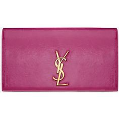 Classic Monogram Saint Laurent Clutch ($689) ❤ liked on Polyvore featuring bags, handbags, clutches, purple handbags, yves saint laurent purses, purple purse, monogrammed clutches y monogrammed purses
