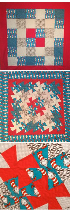 WINDMILL QUILT FRONT AND SQUARES ON BACK PC........................................Cat in the Hat Twister Quilt