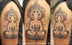 My work varies so much from piece to piece in style and technique- I love to try new things,I love to evolve ,I love to push the limits of my ability. They are never perfect ,but I love every imperfection. I made this custom tattoo of Buddha and Shiva ! And I think its pretty cool :) The concept is, anger/energy ( Shiva) contained inside the enlightenment ( Buddha)  Tattoo by Akash Chandani .Bhopal . India