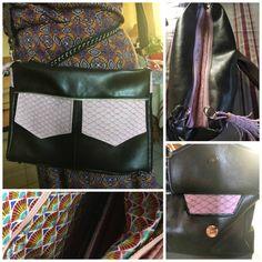 Besace Zip-Zip cousue par Fabienne - Simili noir et cotons imprimés - Patron de sac Sacôtin