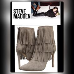 """""""STEVE MADDEN' Flapper Fringe Suede Booties Fringe Makes Everything Better Dancing,,, Fringe Adoring The Upper-0f-Madden's Stiletto Heel Pointed-Toe,,, Booties Add Movement & Fun,,, Fringed Tiers Cascade Down The Soft Suede,,, Heels 4.25"""",,, Shaft 4.75"""",,, 11-Inch Shaft,,, Back-Zipper,,, Lightly Padded Insole,,, Hone In On Your-Inner-Boho Persona By Teaming w/A Cute Peasant Dress And Flower-Headband Steve Madden Shoes Ankle Boots & Booties"""
