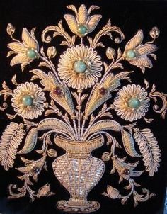 Vintage Handbag/Purse Zardozi Embroidery - Gold Work with Semi Precious Gems.
