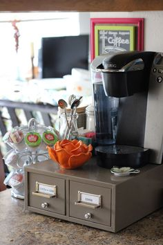 Coffee Counter/Beverage Station.  I like the file box underneath.  Would work great for organizing teas, hot cocoa, etc.
