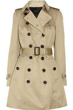 Burberry Prorsum Mid-Length Cotton-Sateen Trench Coat, $1,995, available at Net-A-Porter.