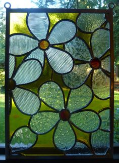 Stained Glass Daisy Panel w Clear Textured by BlueFishStudios
