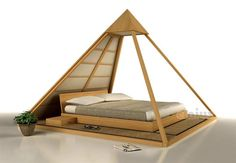 Tatami wooden double bed CHEOPE by Cinius design Fabio Fenili Wooden Double Bed, Double Beds, Pyramid House, Copper Pyramid, Meditation Rooms, Eclectic Decor, Dream Bedroom, Cheap Home Decor, Bed Frame