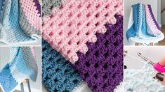 Granny Baby Blanket Crochet Pattern - Use this beginner-friendly granny stitch pattern to crochet an easy crocheted baby blanket pattern Granny Stripe Crochet, Granny Pattern, Crochet Yarn, Kids Crochet, Chunky Crochet, Crochet Squares, Crochet Ideas, Crochet Projects, Crochet Baby Blanket Free Pattern